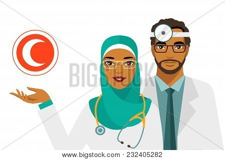 Practitioner Young Islam Doctors Man And Woman In Hijab Standing. Medical Staff