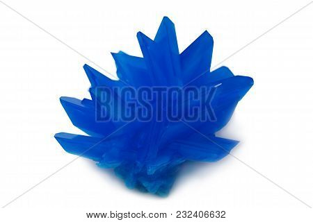 Big Copper Sulphate Crystal Isolated On White Background
