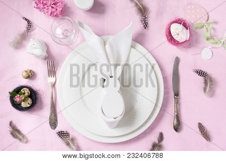 Elegance Table Setting Spring Pink Hyacinth Flowers On With Pink Linen Tablecloth. Easter Romantic D