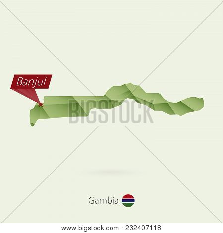 Green Gradient Low Poly Map Of Gambia With Capital Banjul