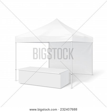Promotional Outdoor Event Trade Show Pop-up Tent Mobile Marquee. Mock Up, Template. Illustration Iso