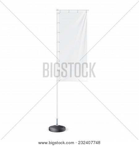 Outdoor Panel Flag With Ground Fillable Water Base, Stander Advertising Banner Shield. Mock Up, Temp