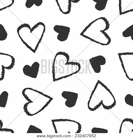 Abstract Doodle Seamless  Heart Pattern. Hand Drawn Elements