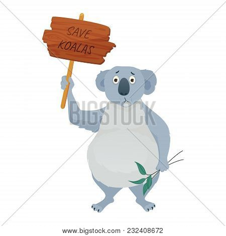 Sad Koala Bear Holding A Protest Sign Save Koalas And Eucalyptus Leaves. Demonstration Against Habit