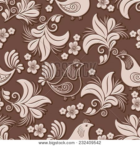 Vector Volumetric Flower And Bird Seamless Pattern Element. Elegant Luxury Embossed Texture For Back