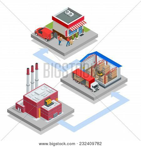 Isometric Waste Processing Plant. Technological Process. Truck Transporting Trash To Recycling Plant