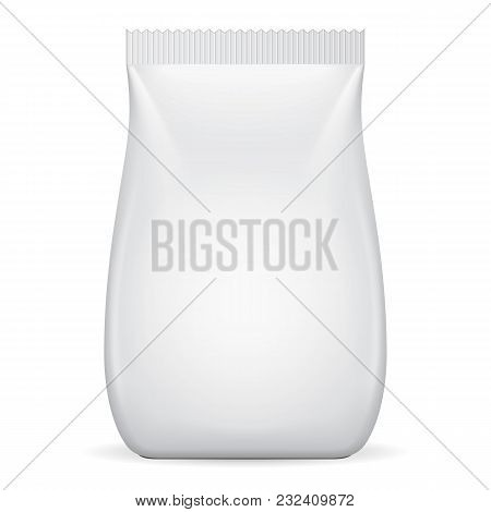 Blank Food Flexible Pouch Sachet Bag. Mock Up, Template. Illustration Isolated On White Background.