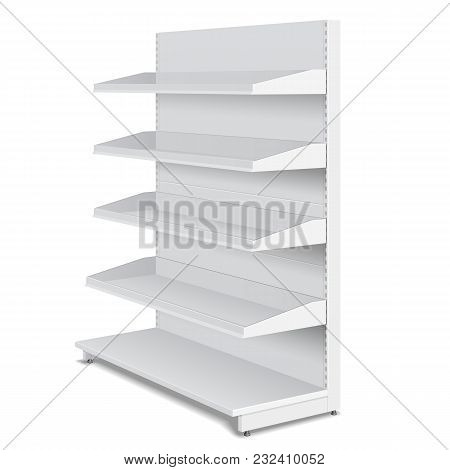 Blank Empty Double Sided Showcase Displays With Retail Shelves, Trading Rack. Mock Up, Template. Ill