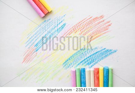 Chalk For Drawing Colorful On A White Background.chalk For Drawing Colorful On A White Background. C