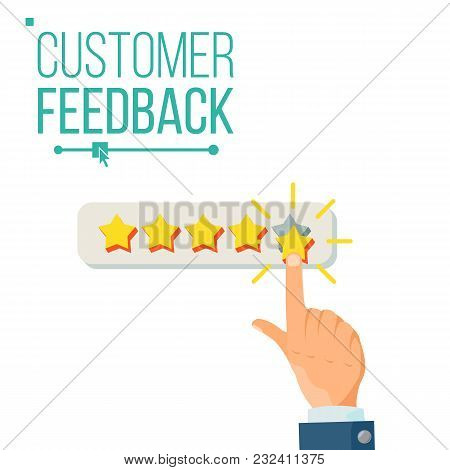 Client Giving Rating Vector. Businessman Hand. Feedback. Testimonial. Isolated Flat Illustration