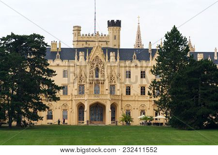 Lednice, Czech Republic - August 10: Tourists In Front Of The Lednice Castle Mansion In Lednice Valt