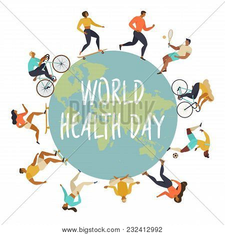 World Health Day 7th April With The Image Of Doctors. Active Young People. Healthy Lifestyle. Roller