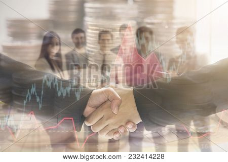 Group Of Business People Making Handshake Agreement. Concept Finance And Invesment Cooperation.