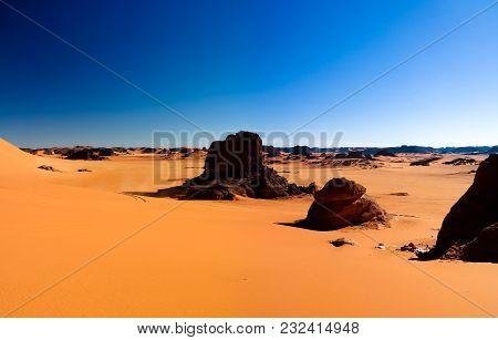 Sunset View To Tin Merzouga Dune, Tassili Najjer National Park, Algeria