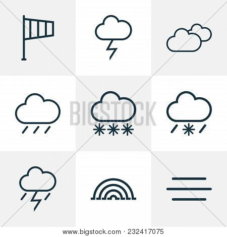 Climate Icons Line Style Set With Lightning, Cloudy Sky, Arc And Other Lightning Elements. Isolated