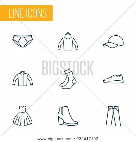 Clothes Icons Line Style Set With Evening Gown, Female Boots, Socks And Other Sweatshirt Elements. I