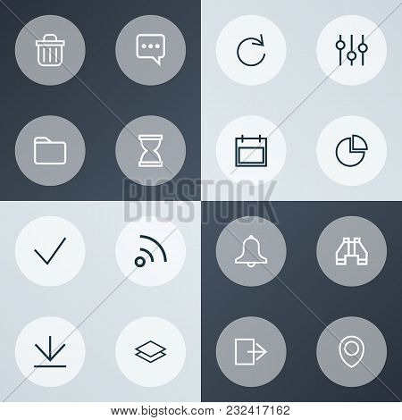 User Icons Line Style Set With Done, Date, Exit And Other Reload Elements. Isolated Vector Illustrat