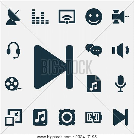 Multimedia Icons Set With Emoji, Speaker, Earphone And Other Satellite Elements. Isolated Vector Ill
