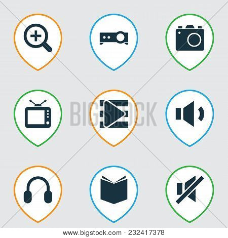 Multimedia Icons Set With Playlist, Textbook, Megaphone And Other Song List Elements. Isolated Vecto