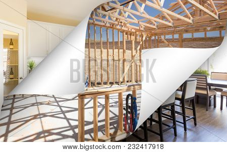 Kitchen Construction Framing with Page Corners Flipping to Completed Photo.