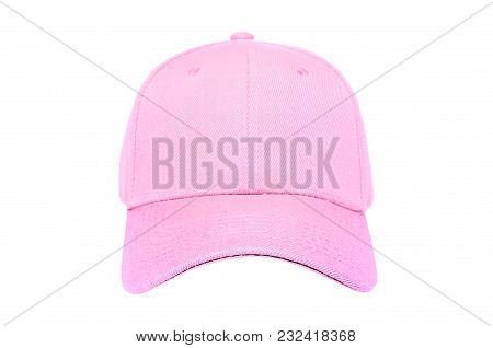 Baseball Cap Color Pink Close-up Of Front View On White Background