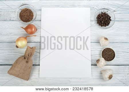 Kitchen, Condiments, Prescriptions Record. Cooking Food Top View Top View