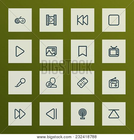 Music Icons Line Style Set With Artist, Stop, Joystick And Other Composer Elements. Isolated  Illust