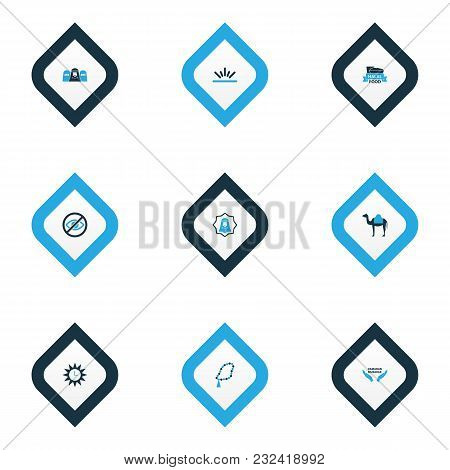 Religion Icons Colored Set With Camel, Lower Your Eyes, Holiday And Other Food Elements. Isolated  I