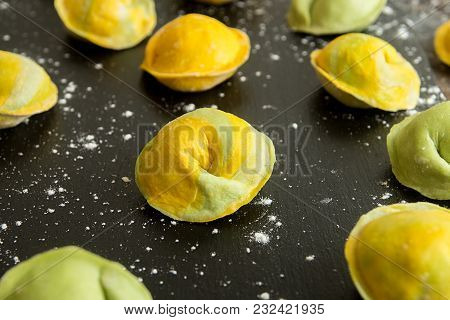 Homemade Raw Dumpling, Yellow And Green Colors, Traditional East European Food Before Boiling.