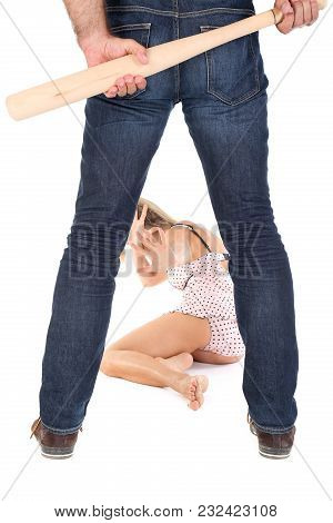 Man Harasses A Woman, Isolated On White Background