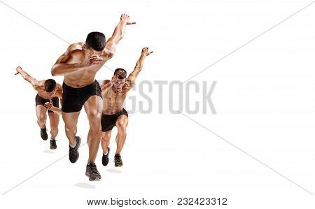 One Caucasian Man Runner Jogger Running Jogging Isolated On White Background With Shadows. Collage W