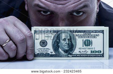 Money Is The Best Motivator For Work. Businessman With Dollar Billse Money. (perspective, Enrichment