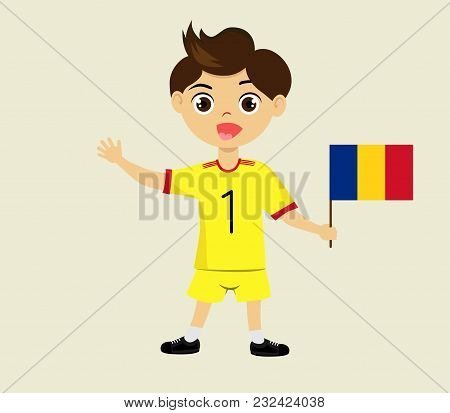 Fan Of Romania National Football, Hockey, Basketball Team, Sports. Boy With Romania Flag In The Colo