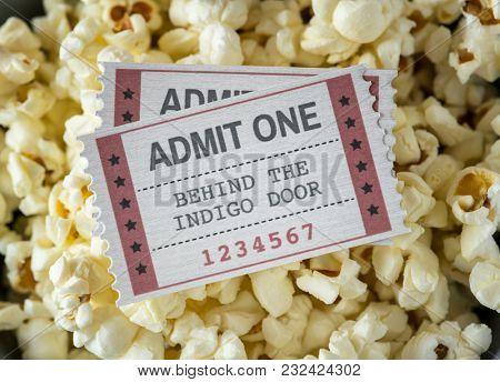 Closeup of cinema and movie entertainment concept