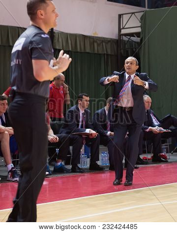 Samara, Russia - December 01: Bc Cska Head Coach Ettore Messina Disputes With The Referee During The
