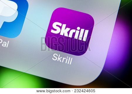 Sankt-petersburg, Russia, March 22, 2018: Skrill Application Icon On Apple Iphone X Smartphone Scree