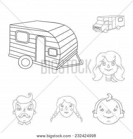 Family Holiday Outline Icons In Set Collection For Design. Recreation And Equipment. Vector Symbol S