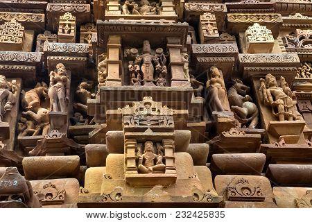 Famous Genre Bas Relieves, Lakshmana Temple, Khajuraho, India. Unesco World Heritage Site. The Most