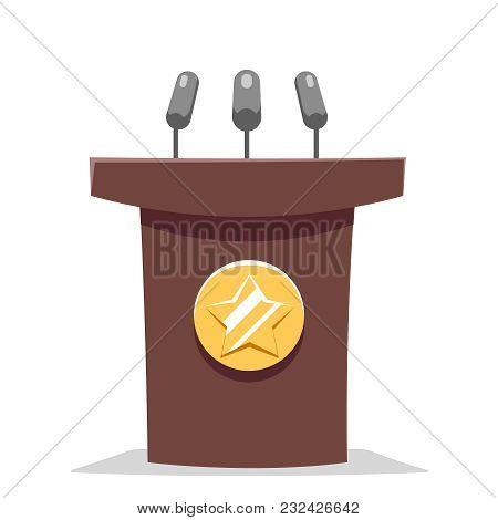 Hustings Tribune Rostrum Performance Politician Cartoon Design Vector Illustration