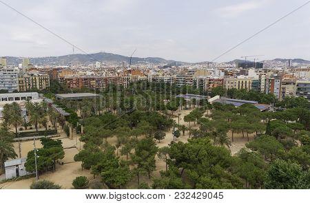 Barcelona Spain Juan Miro Park Day View. Panoramic View Of Large Open Space Parc De Joan Miro Next T
