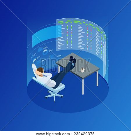 Isometric Businessman Trading Stocks. The Stock Trader Is Looking At Graphs, Indexes And Numbers On