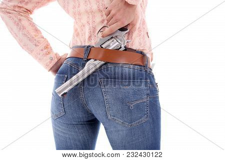 Female Gunfighter Isolated On The White Background