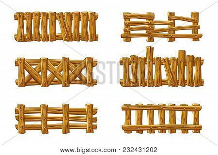 Vector Different Types Of Wooden Fence, Cartoon Set For Vector Different Types Of Wooden Fence, Cart