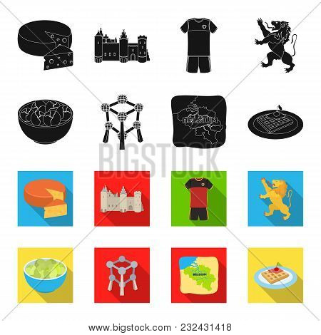Territory On The Map, Brussels Sprouts And Other Symbols Of The Country.belgium Set Collection Icons