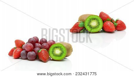 Kiwi, Strawberries And Grapes On A White Background. Horizontal Photo.