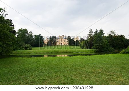 Pond With Lednice Castle In Lednice Valtice Area, Czech Republic
