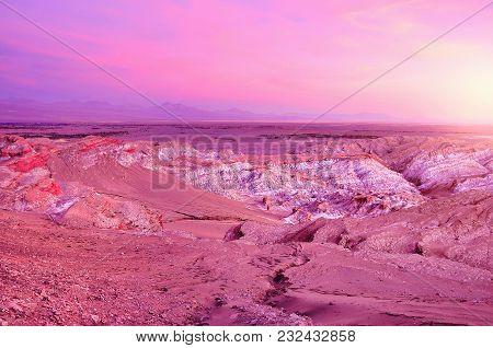 Death Valley-vale De Muerte At Sunset Time. Atacama Desert. Chile.