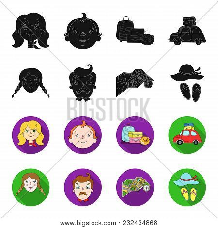 Travel, Vacation, Camping, Map .family Holiday Set Collection Icons In Black, Flet Style Vector Symb