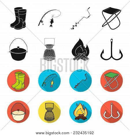 Catch, Hook, Mesh, Caster .fishing Set Collection Icons In Black, Flet Style Vector Symbol Stock Ill