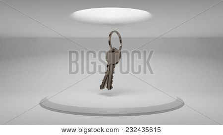 3d Keys On The Background Of The Stand To Demonstrate The Design. Diffused Light From Above. 3d Rend
